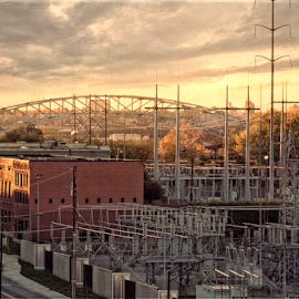 Cityview by Nancy Brizendine - City,  Street & Park  Skylines ( urban, building, industrial, autumn, sunset, fall, bridge, river, city )