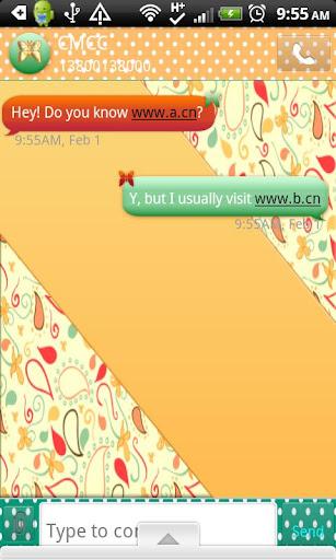 GO SMS THEME PeachPaisley