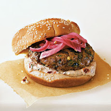 Spicy Poblano Burgers with Pickled Red Onions and Chipotle Cream