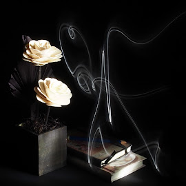 Tobacco scent by Loredana Gancea - Abstract Light Painting ( books, dark, tobacco, flowers, scent )
