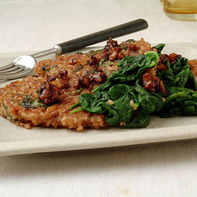Bulgur, Spinach, and Toasted Walnut Pancakes