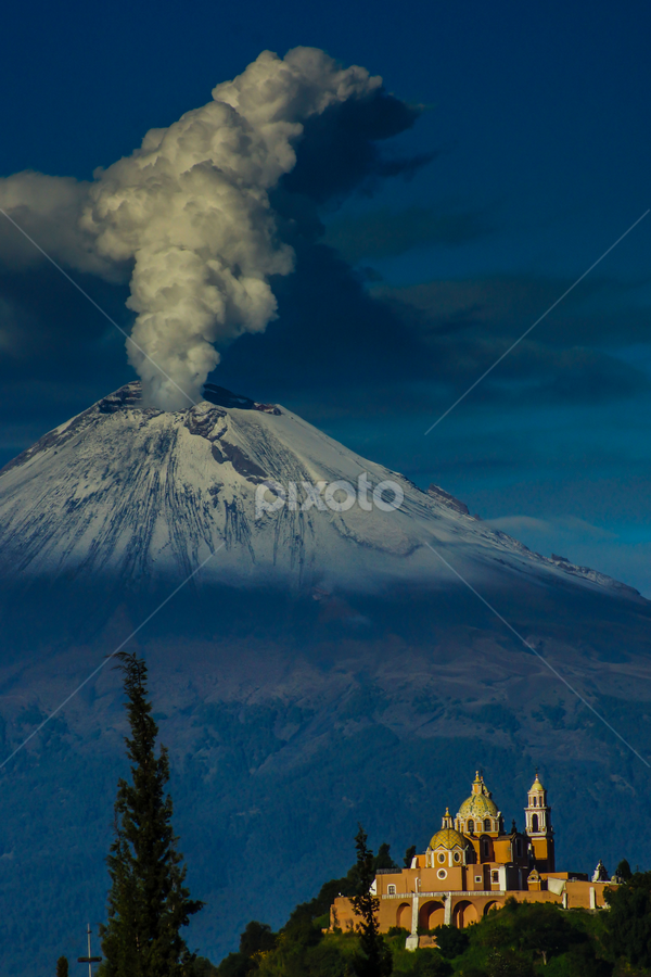 Popocataepetl  and Church by Cristobal Garciaferro Rubio - Landscapes Mountains & Hills ( volcano, popo, volca, snowy volcano, smoking volcano )