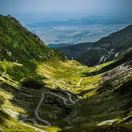 The descent  by Cosmin Lita - Landscapes Mountains & Hills ( mountain, nature, valley, road, landscape )