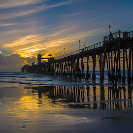 Oceanside Pier Sunset by Patrick Flood - Buildings & Architecture Bridges & Suspended Structures ( love, photosbyflood, reflection, winter, sunset, low tide, pier, oceanside ca, blues )