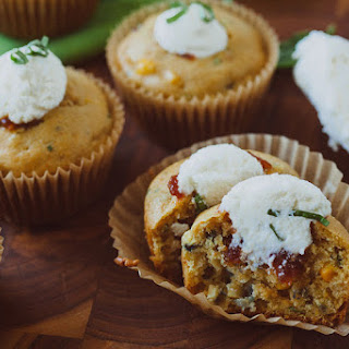 Savory Corn and Basil Muffins with Ricotta and Tomato Jam