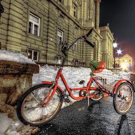 Red by Bojan Bilas - Transportation Bicycles ( hdr, night, street scene, transportation, bicycle, city )
