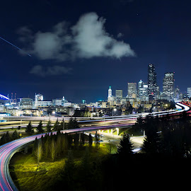 Welcome to Seattle by Ankit Saxena - City,  Street & Park  Skylines ( seattle, gohawks, seahawks, night, joserizal )