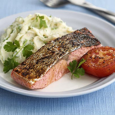 Spiced Salmon With Coriander Mash