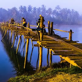 Small Wooden Bridge by Ko Naing - Landscapes Travel