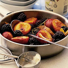 Plums & Blackberries In Rosemary Syrup