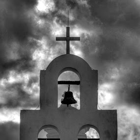 Three Bells by Jeff Jones - Buildings & Architecture Architectural Detail ( church, bells, storm, architural, black&white )