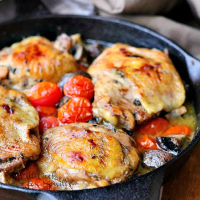 Roasted Chicken Thighs with Tomatoes and Mushrooms
