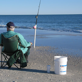 Easy morning fishing by Kaye Petersen - Artistic Objects Furniture ( chair, outdoor furniture, bucket, old man, beach, fishing, Chair, Chairs, Sitting )