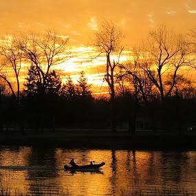 Fishing At Dawn by Howard Sharper - Landscapes Sunsets & Sunrises ( dawn, fishing, sunrise, daybreak, fishing boat,  )