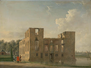 RIJKS: Jan ten Compe: Rear View of Berckenrode Castle in Heemstede after the Fire 1747