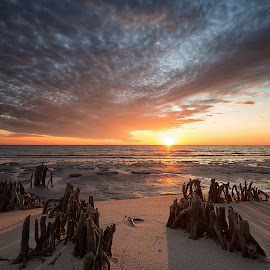 Cold Front Over the Gulf by Stephen Marshall - Landscapes Beaches ( clouds, water, sand, sunset, cold front, gulf, wave, cloudy, cloud, ocean, beach )