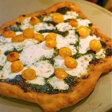 Homemade Pesto, Mozzarella & Tomato Pizza