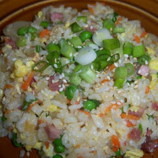Simple Ham (Or Pork) Fried Rice W/Sesame Oil No Wok Needed