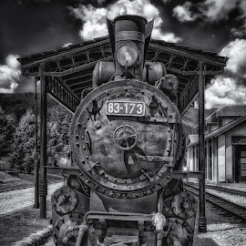 Antique Steam Locomotive by Dobrinovphotography Dobrinov - Transportation Trains ( old, steam train, sepia toned, front view, no people, train, run-down, travel locations, railroad track, steam engine, station, engine, obsolete, old-fashioned, smoke, railroad car, sign, lighting equipment, building exterior, flag, horizontal, locomotive, built structure, antique, steam )