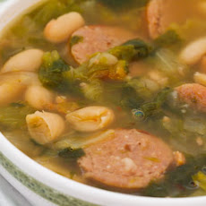 Cannellini Bean Soup with Roasted Italian Sausage and Escarole