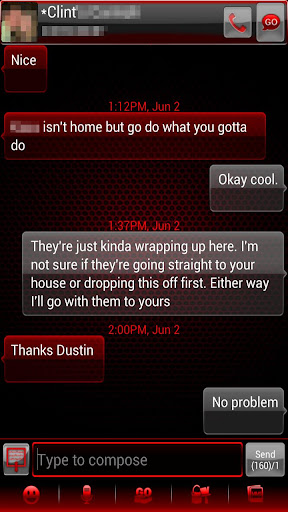 GO SMS Pro Crimson Glass Theme