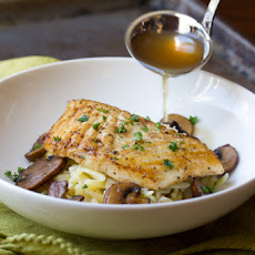 Mushroom Broth over Brown Butter Seared Halibut