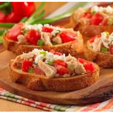 Open-Face Chicken Bruschetta on Garlic Bread
