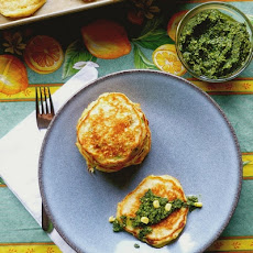 Sweet Miso Corn Cakes with Basil Parsley Pesto