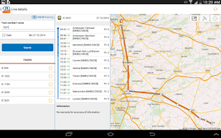Screenshot of SNCB/NMBS
