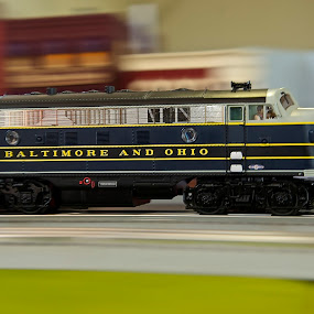 Faster Than A Speeding Bullet by Roy Walter - Artistic Objects Toys ( toy, toy train, artistic object, motion blur )
