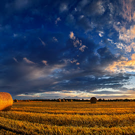 Hungarian skies pt.177 by Zsolt Zsigmond - Landscapes Prairies, Meadows & Fields ( clouds, sky, hdr, sunset, meadow, haybales, summer, cloudscape, harvest, panorama, skyscape )