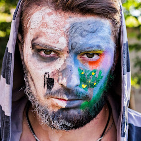 P by Andi Topiczer - People Portraits of Men ( contrast, colour, portret, art, denisa rk, pollution, andi topiczer, face painting, portrait )