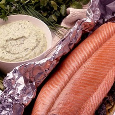 Foil-baked Whole Fresh Salmon with Green Herb Mayonnaise