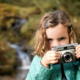 Camera Girl [Colour] by Dominic Lemoine Photography - Babies & Children Children Candids ( colour, girl, waterfall, camera, woodland )