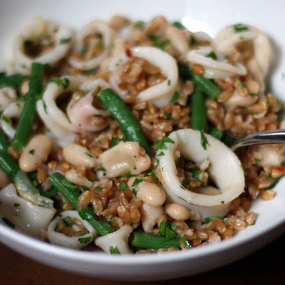 Farro Salad with Squid, White Beans, and Green Beans