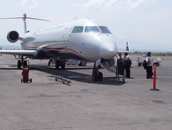 Boarding plane in  Guad