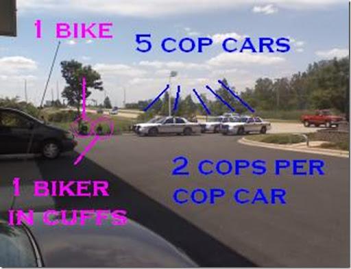 1 bike, 10 cops... why?