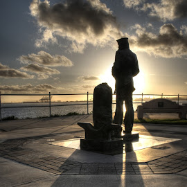 The Lone Sailor by Mike Zampelli - Buildings & Architecture Statues & Monuments ( missing, solitary, waiting, lone, navy, longing, usa, alone, lonely, sailor, lonesome,  )