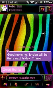 Rainbow Zebra theme for GO SMS - screenshot
