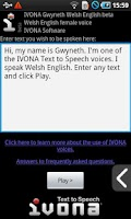 Screenshot of IVONA Gwyneth UK English beta