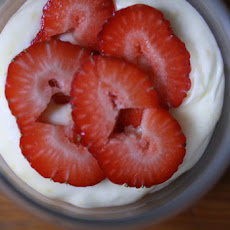 Lemon Mousse  with Basil-Macerated Strawberries