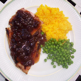 Ham Steak and Cranberry Mustard Sauce