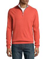 Neiman Marcus Cashmere Mock-Collar Sweater, Mandarin - (LARGE)