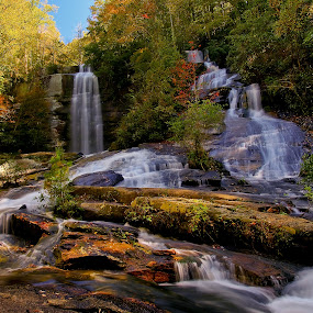 Twin Falls by Jonathan Wheeler - Landscapes Waterscapes ( water, waterfalls, autumn, south carolina mountains, motion, leaves, twin falls,  )