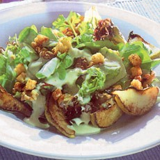 Warm Pear and Walnut Salad with Roquefort Dressing and Croutons