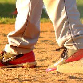 Grip on foot. by Sangeetha Selvaraj - Sports & Fitness Baseball ( red, cleats, baseball, shoe,  )
