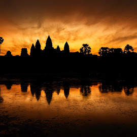 Angkor Wat Temple by Nick M - Landscapes Travel ( temple, reflection, sunrise, angkor wat, cambodia, siem reap )