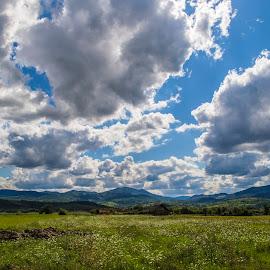 Roadtrip by Suciu Corina - Landscapes Prairies, Meadows & Fields ( clouds, blue sky, sky, grass, fields,  )