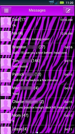 GO SMS Purple Zebra Theme