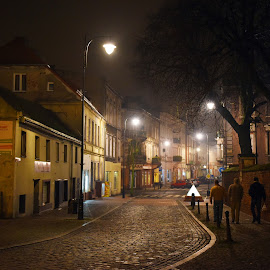 Streets of Gniezno by Amber Williams - City,  Street & Park  Street Scenes ( europe, street, dark, night, light, gniezno, nightlife, poland )